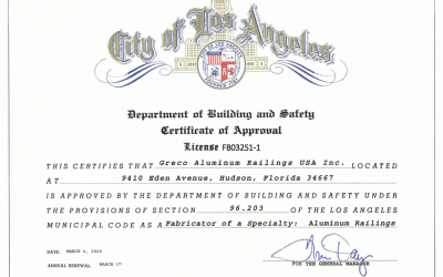 GRECO Receives Los Angeles Fabricator Certificate of Approval
