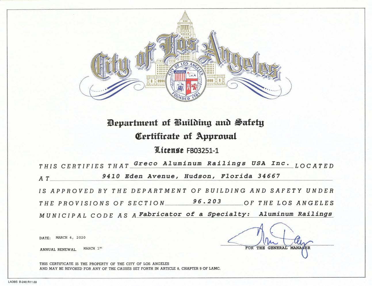 Certificate for city of LosAngeles